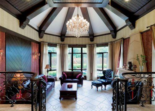 地中海风格五居室客厅吊顶装修图片