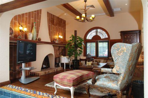 地中海风格五居室客厅壁纸装修图片