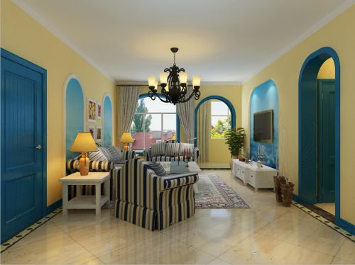 地中海风格三居室客厅壁纸装修效果图