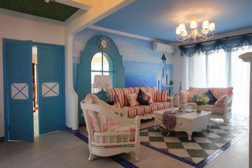 地中海风格三居室客厅电视柜装修效果图欣赏