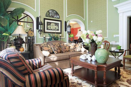 地中海风格五居室客厅背景墙装修效果图