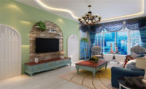 地中海风格三居室客厅灯具装修效果图欣赏