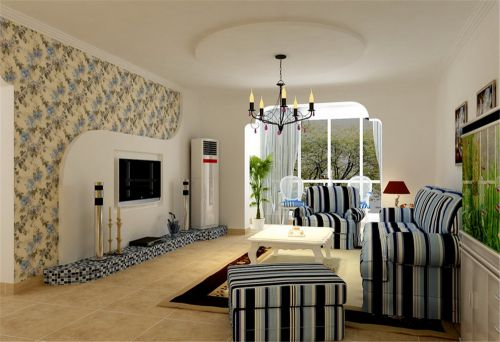 地中海风格三居室客厅隔断装修效果图