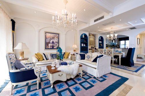 地中海风格五居室客厅沙发装修图片