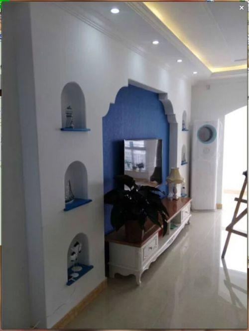 地中海风格三居室客厅影视墙装修效果图大全
