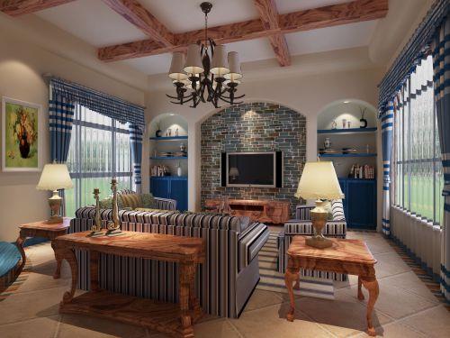 地中海风格四居室客厅背景墙装修图片