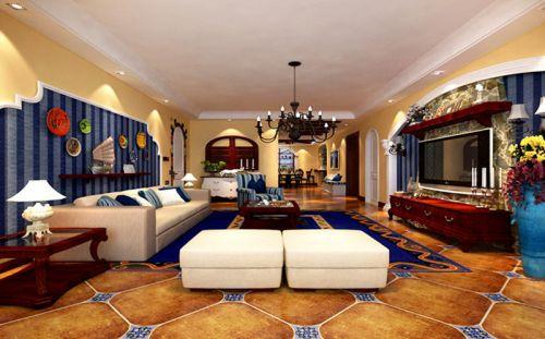 地中海风格四居室客厅背景墙装修效果图欣赏