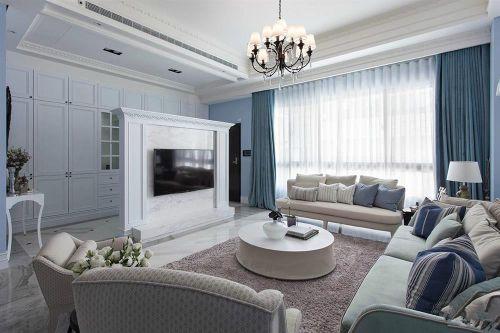地中海风格三居室客厅组合柜装修图片