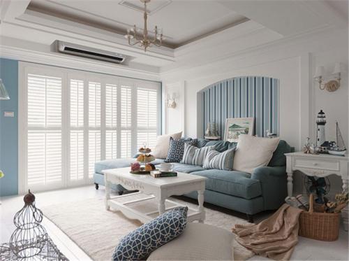 地中海风格四居室客厅吊顶装修图片