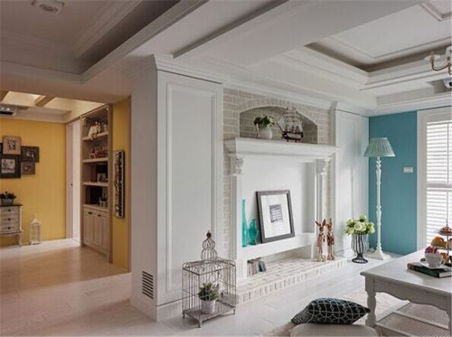 地中海风格四居室客厅吊顶装修效果图大全