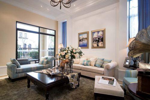 地中海风格四居室客厅背景墙装修效果图