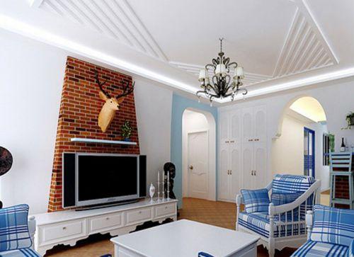 地中海风格三居室客厅组合柜装修效果图