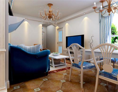 地中海风格三居室客厅吊顶装修效果图