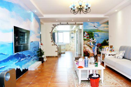 地中海风格三居室客厅隔断装修图片