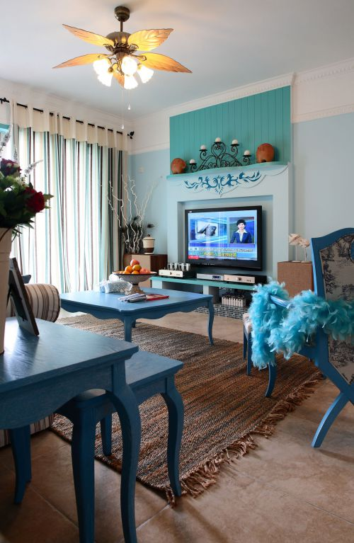 地中海风格二居室客厅装修图片