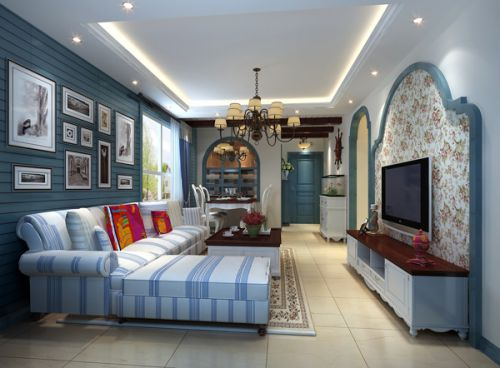 地中海风格二居室客厅装修图片欣赏