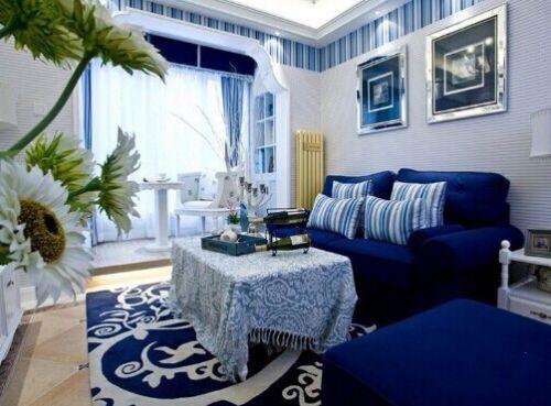 地中海风格三居室客厅飘窗装修效果图大全