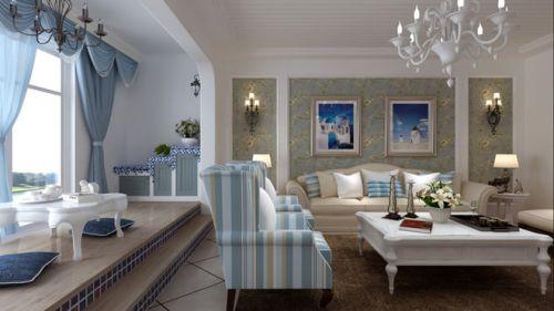 地中海风格三居室客厅壁纸装修图片
