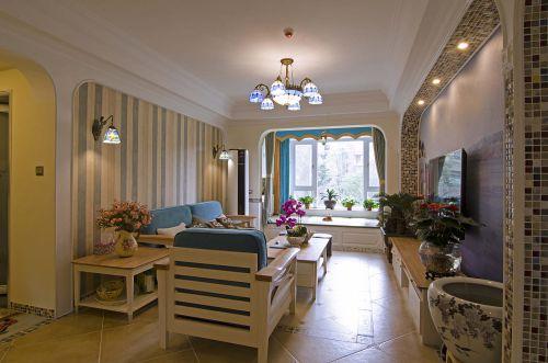 浪漫地中海风格客厅装修实景图