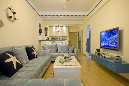 地中海风格客厅50平米小户型装修图