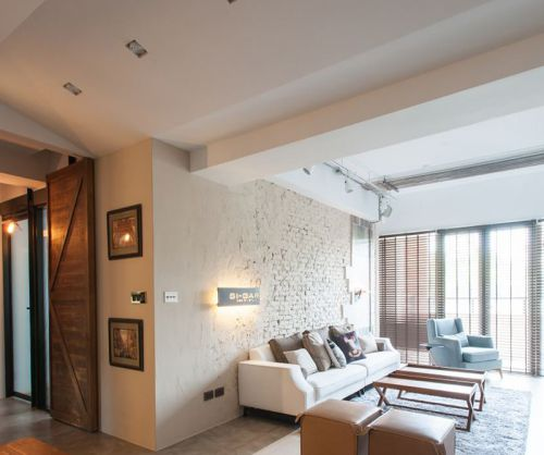 时尚混搭风格干净白色客厅设计效果图