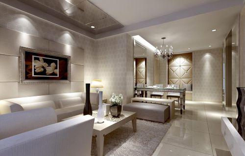 混搭风格长方形客厅沙发装修效果图