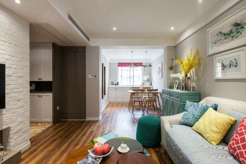 混搭风格客厅实木地板装修效果图