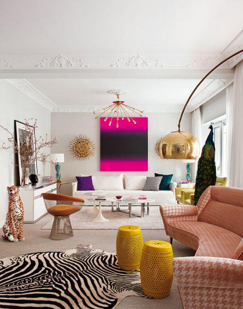 甜美混搭风格客厅背景墙装修实景图