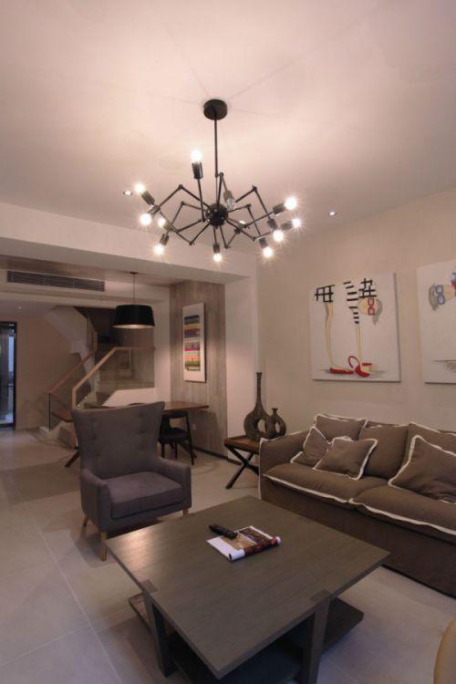 简洁温馨混搭风格客厅灯具图片欣赏