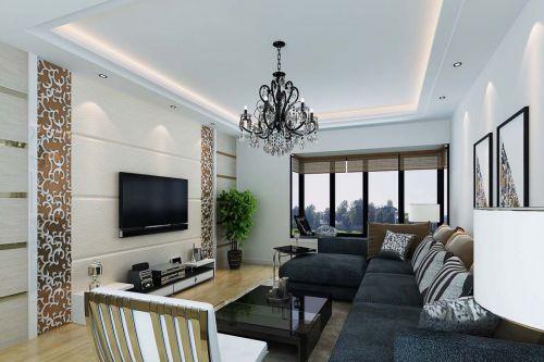 混搭风格95平米客厅电视背景墙效果图