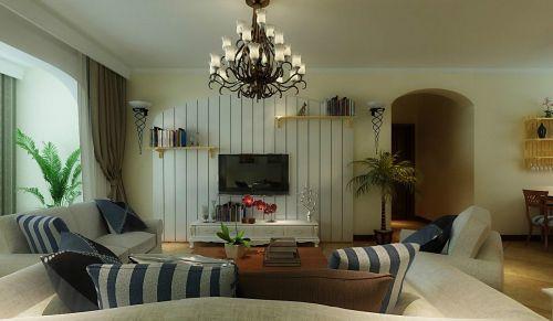 混搭风格客厅木质电视背景墙设计图