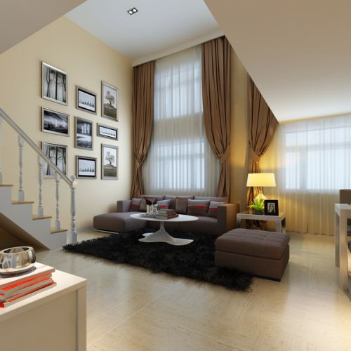 混搭风格一居室客厅楼梯装修效果图