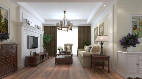简美风格装修效果图三居室客厅灯具
