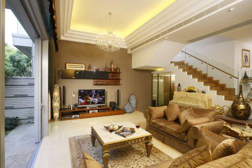 美式混搭沙发茶几复式客厅楼梯装修效果图