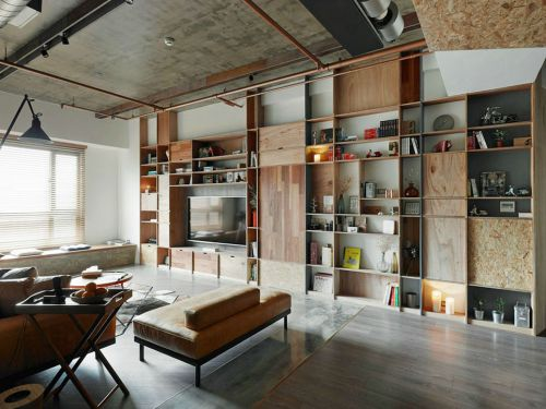 loft混搭原木风家居客厅组合柜装修效果图