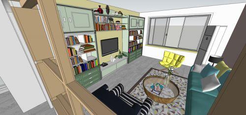 混搭风格二居室客厅背景墙装修效果图欣赏