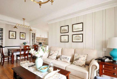 混搭风格客厅沙发背景墙壁纸装修效果图