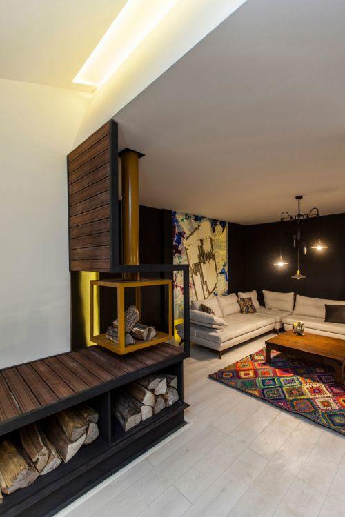 混搭风格个性优雅客厅背景墙设计图