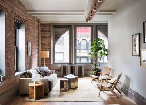 混搭风格优雅客厅朴实红砖背景墙图片