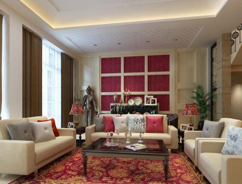 红色简约混搭沙发吊顶客厅装修效果图