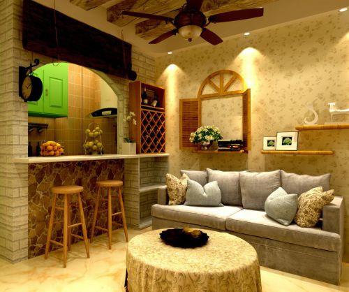 米色田园壁纸混搭酒柜吧台的客厅装修效果图