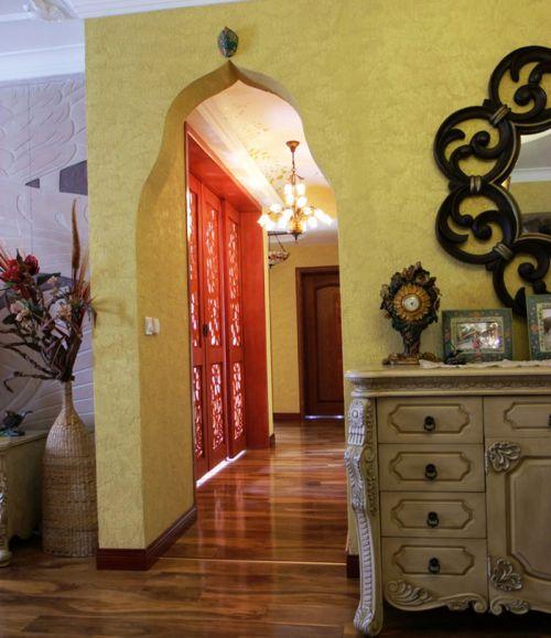 混搭黄色别墅客厅走廊装修效果图