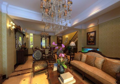 混搭风格别墅客厅沙发装修效果图