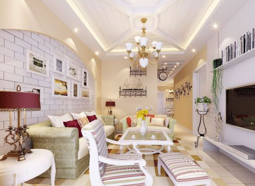 混搭风格客厅白色照片墙装修效果图