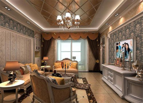 别样混搭风格三居室客厅壁纸装修效果图