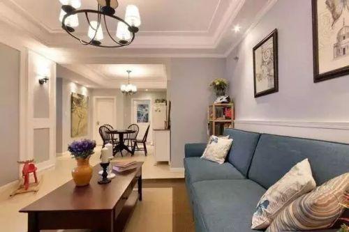 混搭风格二居室客厅吊顶装修效果图欣赏