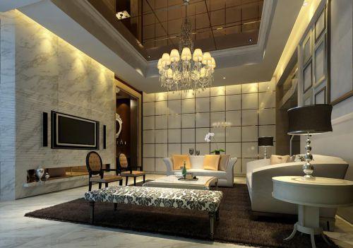 时尚混搭风格客厅家居白色沙发装修图