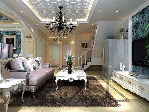 混搭风格复式客厅背景墙装修效果图