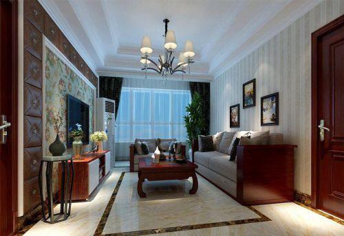 混搭风格四居室客厅背景墙装修效果图大全