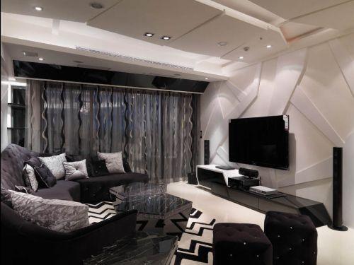 混搭风格二居室客厅影视墙装修效果图